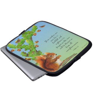 Red Squirrel Oak Tree Watercolor Acorns Laptop Sleeve