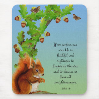 Red Squirrel Oak Tree Watercolor Acorns Mouse Pad