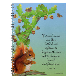 Red Squirrel Oak Tree Watercolor Acorns Notebooks