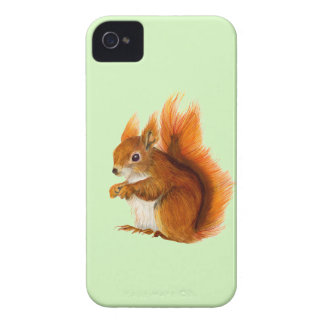 Red Squirrel Painted in Watercolor Wildlife Art Case-Mate iPhone 4 Cases