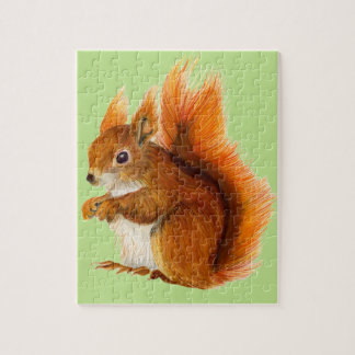 Red Squirrel Painted in Watercolor Wildlife Art Jigsaw Puzzle