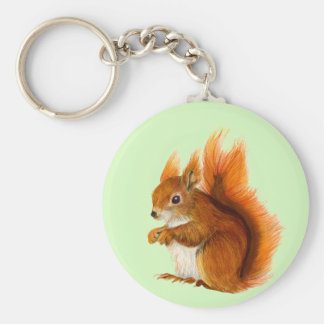 Red Squirrel Painted in Watercolor Wildlife Art Keychain