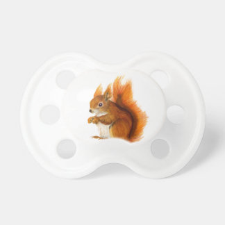Red Squirrel Painted in Watercolor Wildlife Art Pacifier
