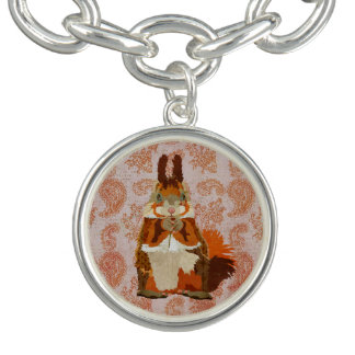 Red Squirrel Paisley Charm Bracelet