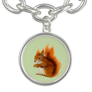 Red Squirrel Watercolor Painting Gifts and Bags Bracelets