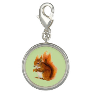 Red Squirrel Watercolor Painting Gifts and Bags Charm