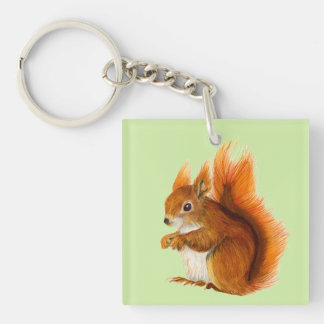 Red Squirrel Watercolor Painting Gifts and Bags Double-Sided Square Acrylic Keychain