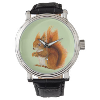 Red Squirrel Watercolor Painting Gifts and Bags Watch