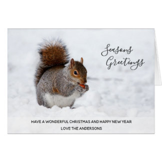 Red Squirrel Winter Snow Xmas Photo Personalized Card