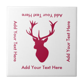 Red Stag Head Christmas or Stag Party Ceramic Tile