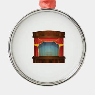 red stage open Silver-Colored round ornament