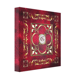 Red Stained Glass Monogram Fleur De Lis Canvas Stretched Canvas Print