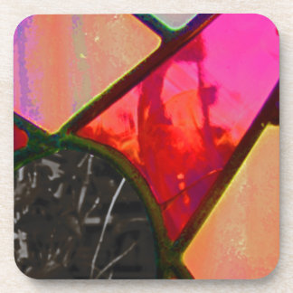Red stained multi color beverage coasters