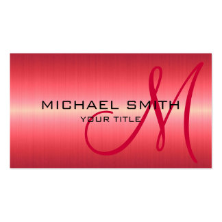 Red Stainless Steel Metal Double-Sided Standard Business Cards (Pack Of 100)