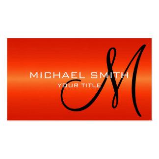 Red Stainless Steel Metal Monogram Business Card