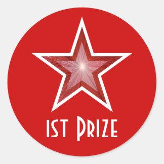 Red Star '1st Prize' round sticker red