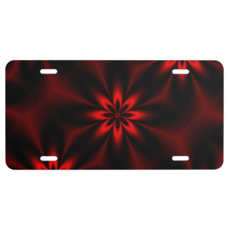 Red Star Burst License Plate