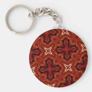 red star cross pattern keychains