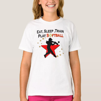RED STAR EAT, SLEEP, TRAIN SOFTBALL DESIGN T-Shirt