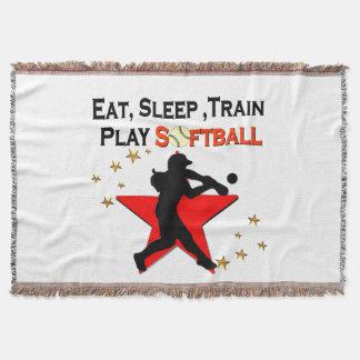 RED STAR EAT, SLEEP, TRAIN SOFTBALL DESIGN THROW BLANKET