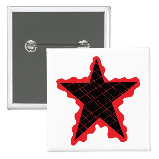 Red Star Flame Pinback Buttons