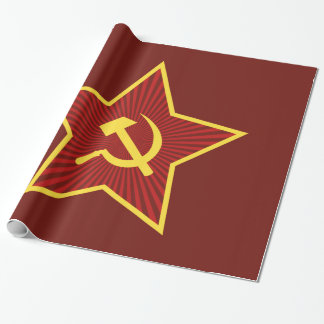 Red Star Hammer and Sickle Glossy Wrapping Paper