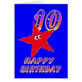 Red Star Happy 10th Birthday Card