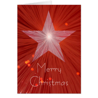 Red Star 'Merry Christmas' vertical greetings card