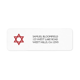 Red Star of David Avery Return Address Label
