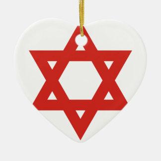 Red Star Of David, Israel flag Christmas Ornament