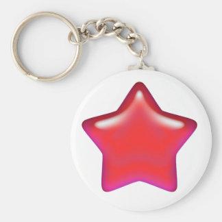 Red Star of Love Basic Round Button Keychain