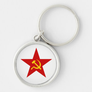 Red Star Silver-Colored Round Keychain