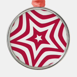 Red Star Silver-Colored Round Ornament