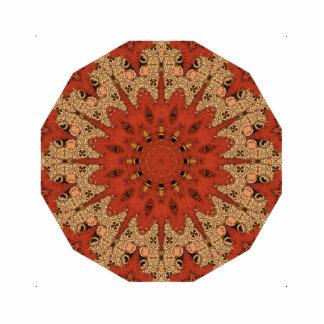Red Star Stitched-Like Mandala Photo Sculpture Button