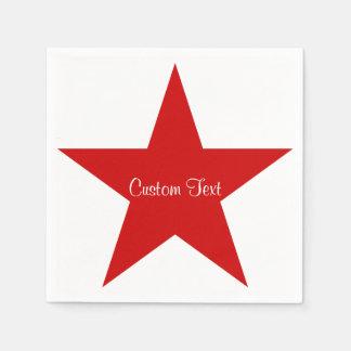 Red Star w/ Custom Text Paper Napkins