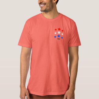Red star, white star, three stars blue tee shirt