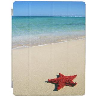 Red Starfish On White Sand Beach iPad Cover