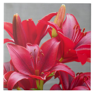 Red Stargazer Lilies Floral Tile