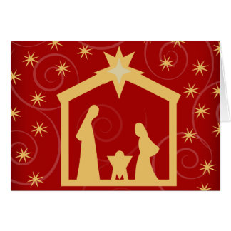 Red Starry Night Christmas Nativity Greeting Card