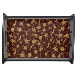 RED STARS AND MOONS by Slipperywindow Serving Tray