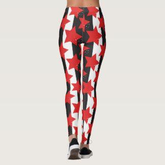 Red Stars & Black/ White Yoga Leggings