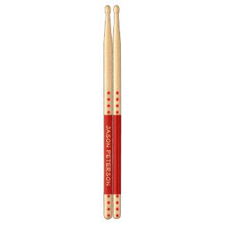 Red Stars Custom Name V13 Drum Sticks