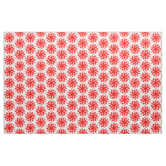 Red stars flowers graphic pattern fabric