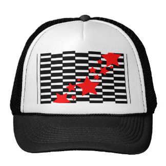 Red Stars on Black and White Trucker Hats