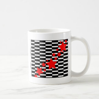 Red Stars on Black and White Mugs