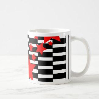 Red Stars on Black and White Coffee Mug