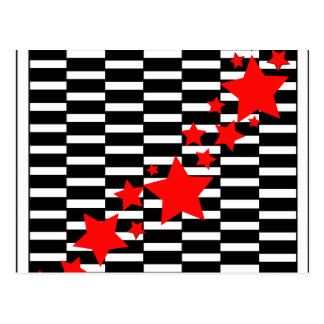 Red Stars on Black and White Postcard