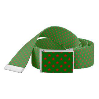 Red Stars On Christmas Green Background Belt