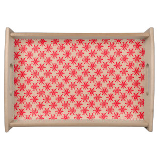 Red stars on taupe serving tray