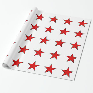 red stars on white background wrapping paper
